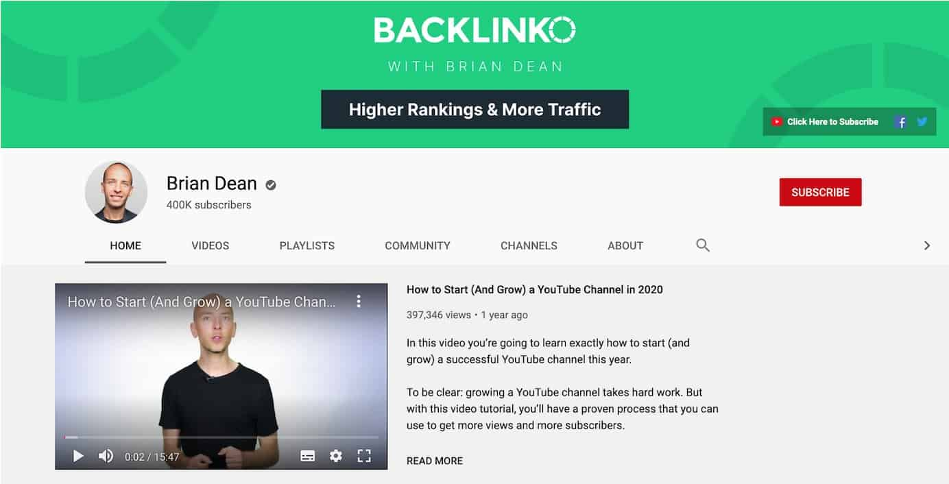 Backlinko YouTube channel