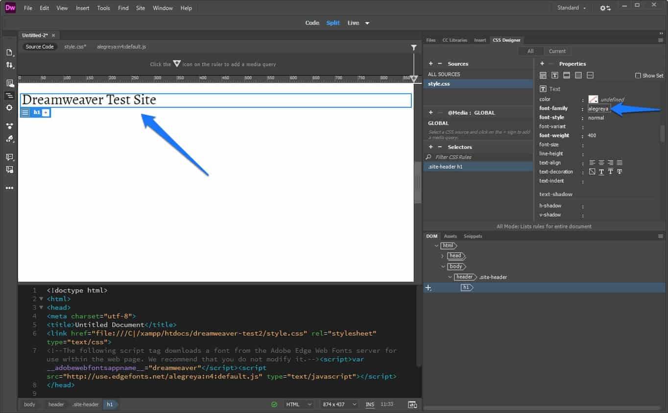 change font via dreamweaver css designer