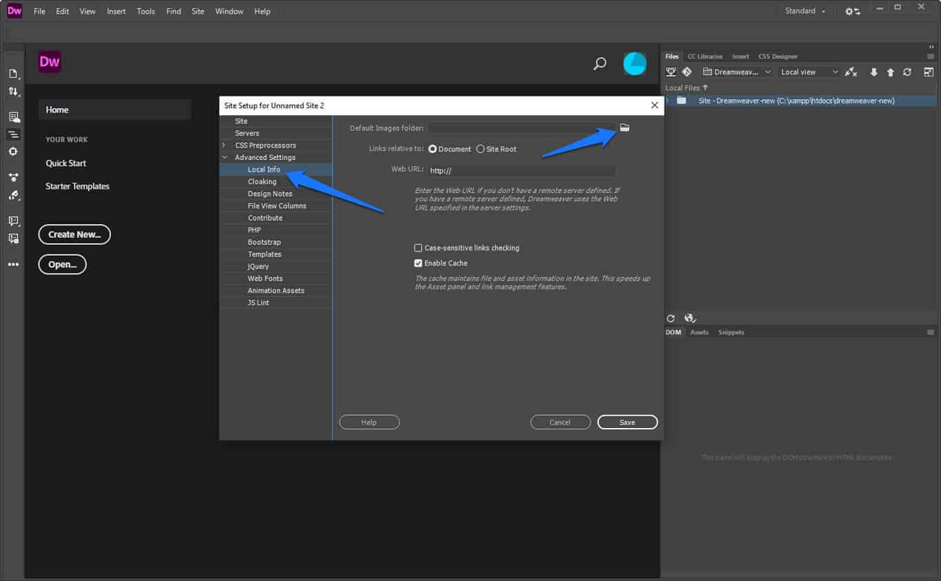configure default image folder in dreamweaver