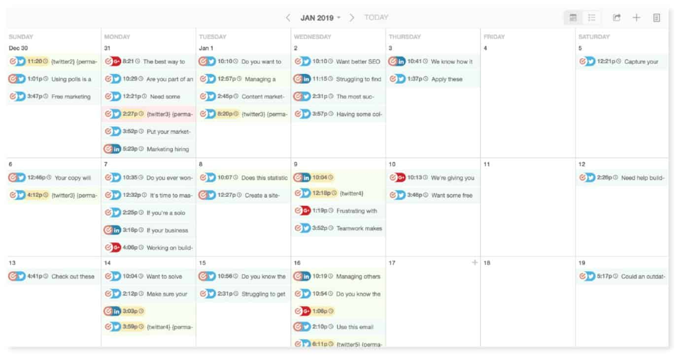 Content calendar by CoSchedule