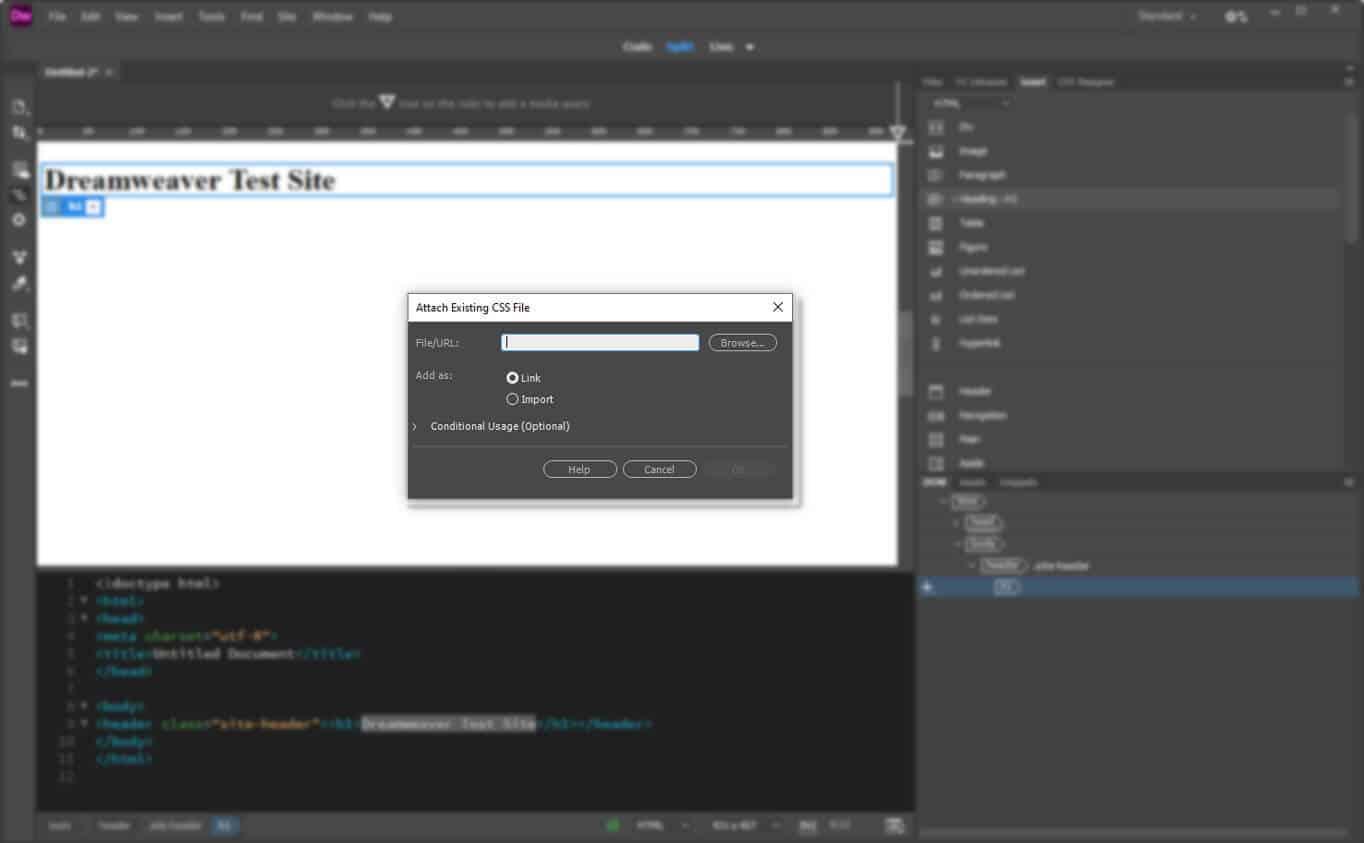 create style sheet in dreamweaver