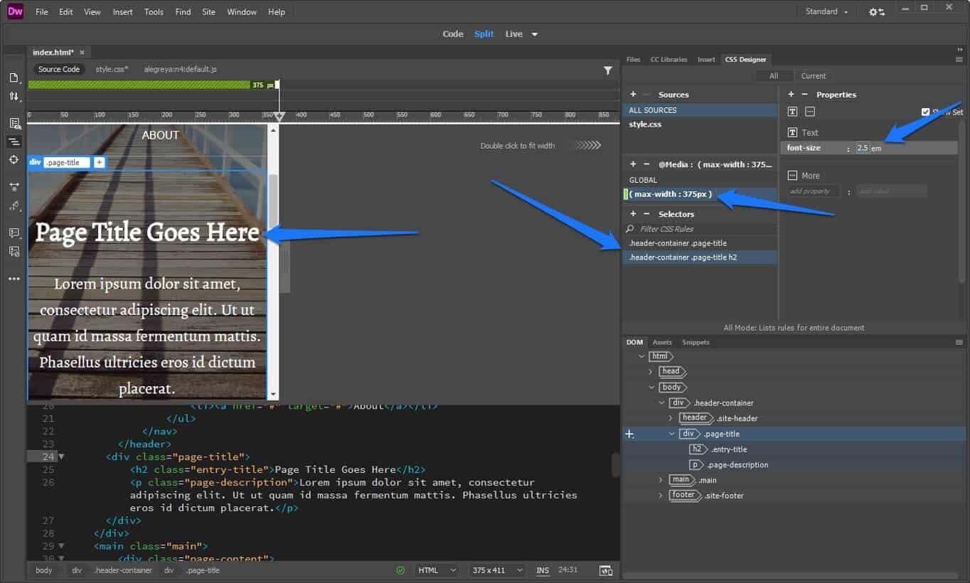 dreamweaver change styling via media query
