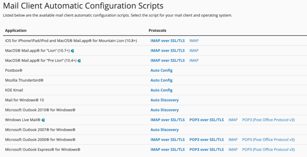 email configuration scripts