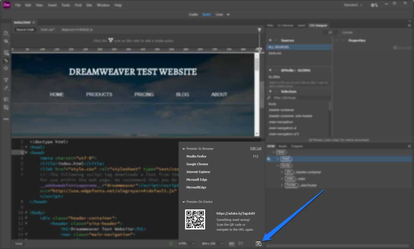 how to use dreamweaver preview functionality