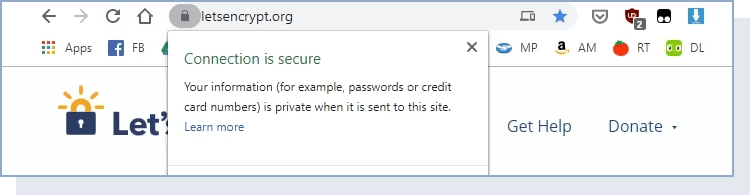 a browser displaying that the connection is secure
