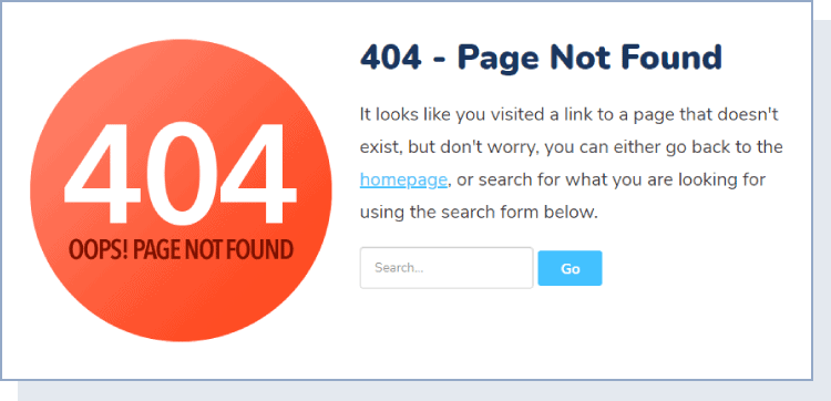 404 page - page not found