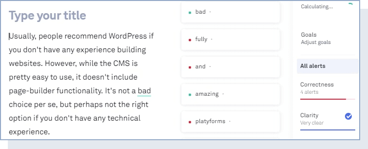 text being checked within Grammarly