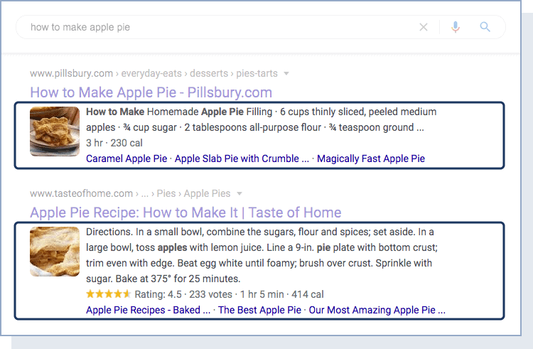 a recipe rich snippet in the Google search results
