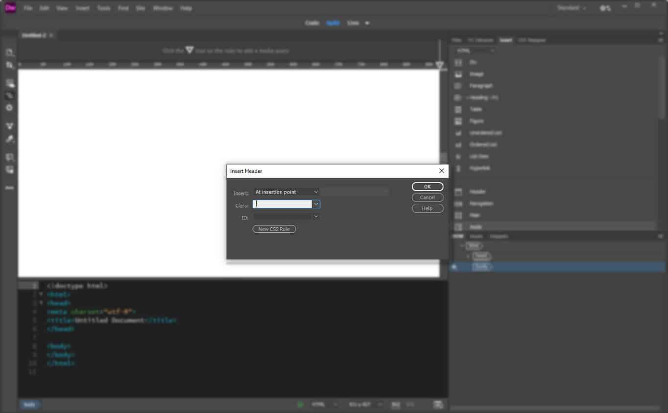 insert header element into page