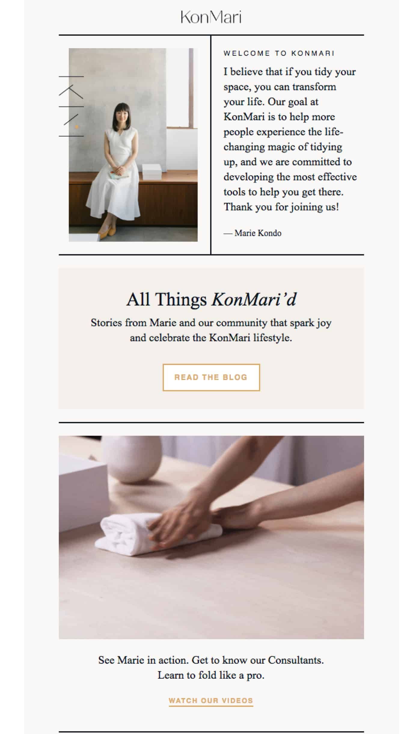 KonMari newsletter confirmation email