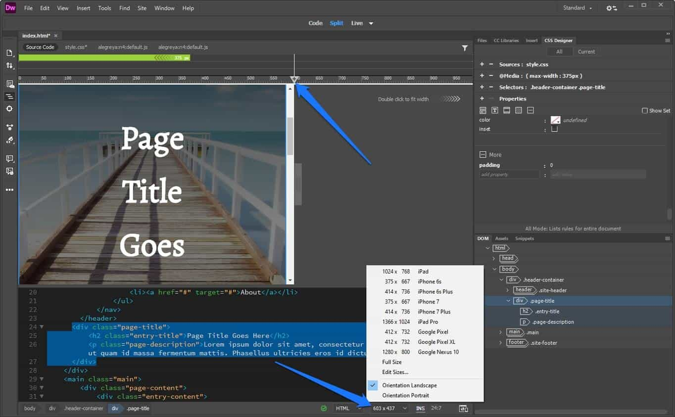 manually create media queries or use presets