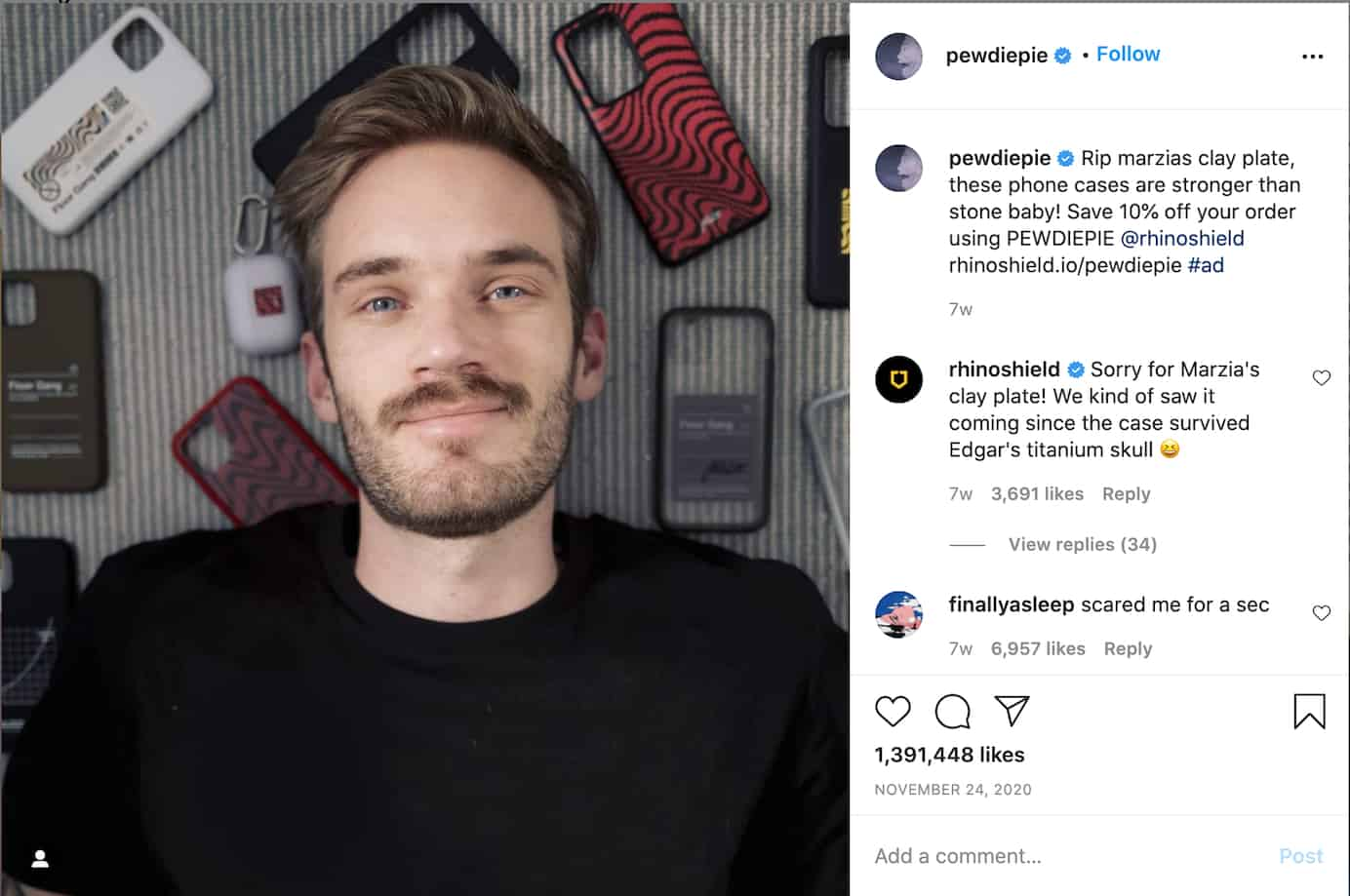 PewDiePie Instagram post
