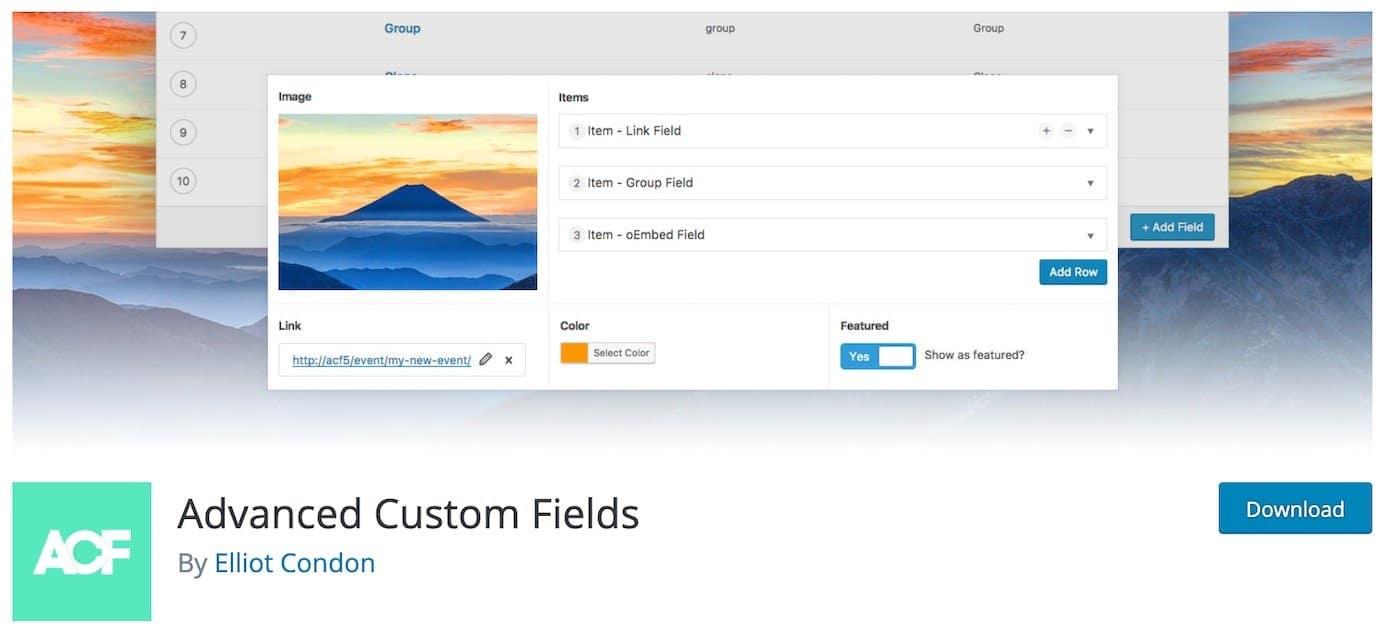WordPress plugins for custom fields: Advanced Custom Fields