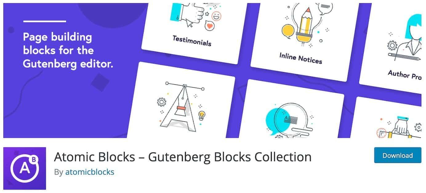 WordPress plugins for additional block options: Atomic Blocks