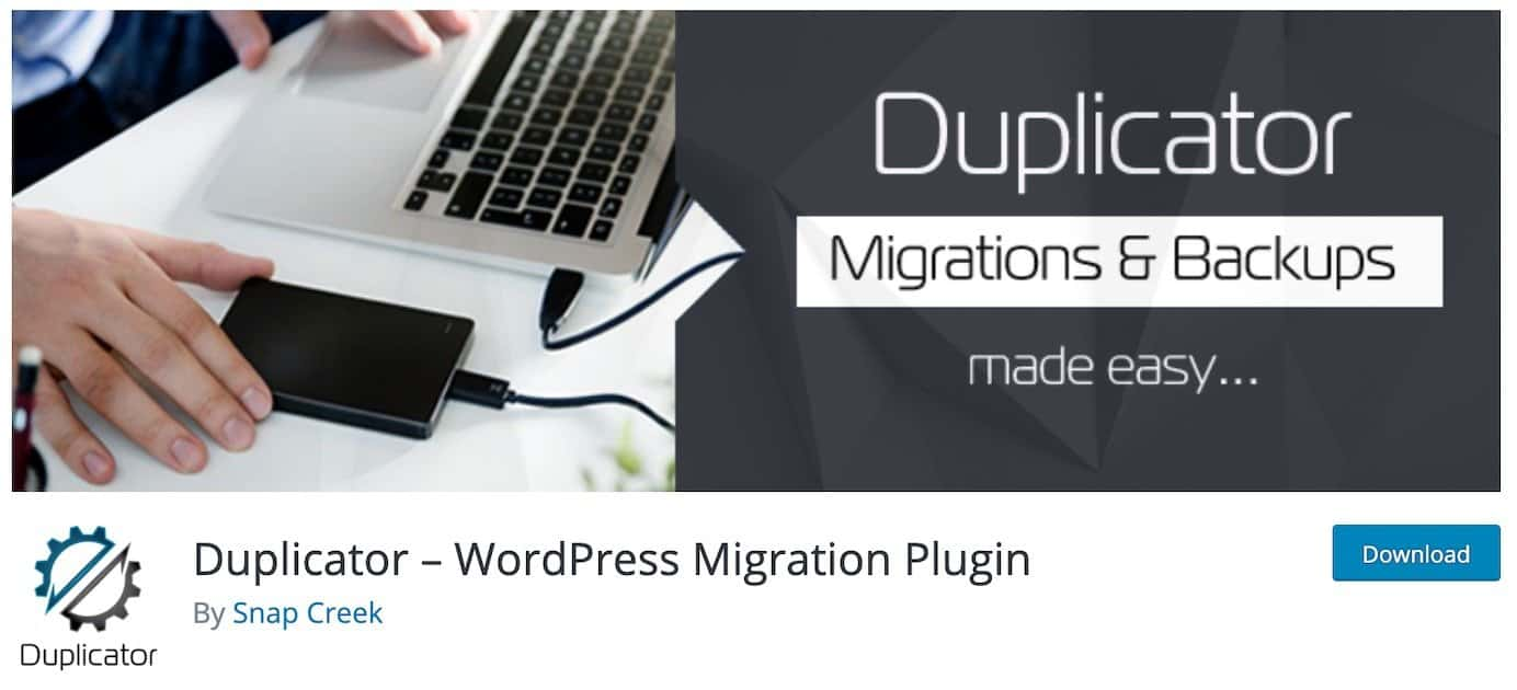 WordPress plugins for migration: Duplicator
