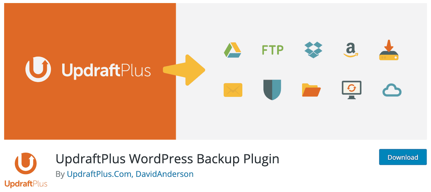 WordPress plugins for backups: UpdraftPlus