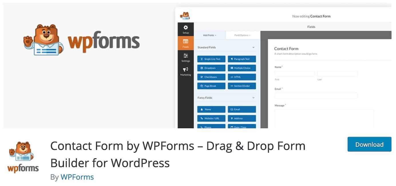 WordPress plugins for contact forms: WPForms