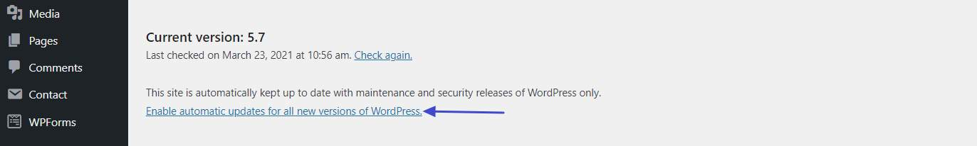 Enable automatic updates for all new versions of WordPress