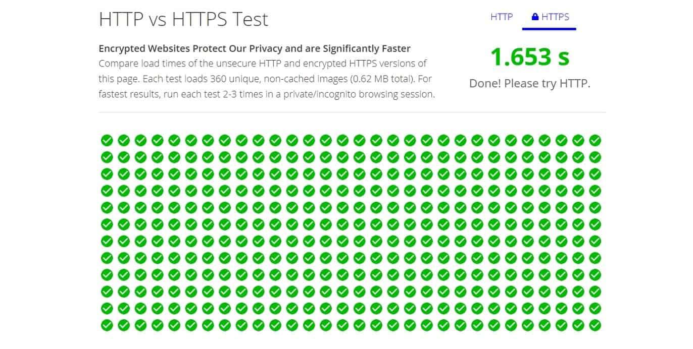 HTTP vs HTTPS test