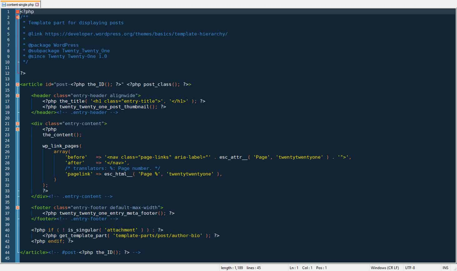 php code in template file