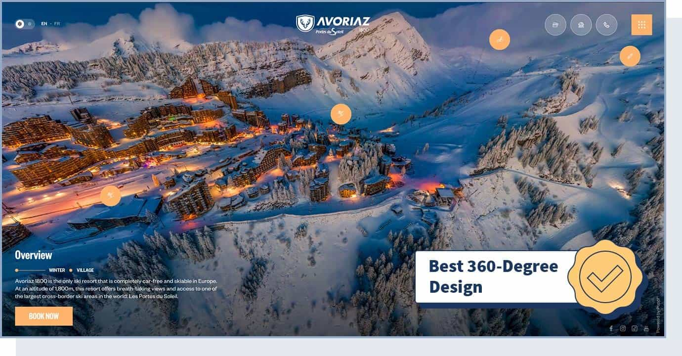 """Avoriaz website homepage with badger that says """"best 360-degree design"""""""