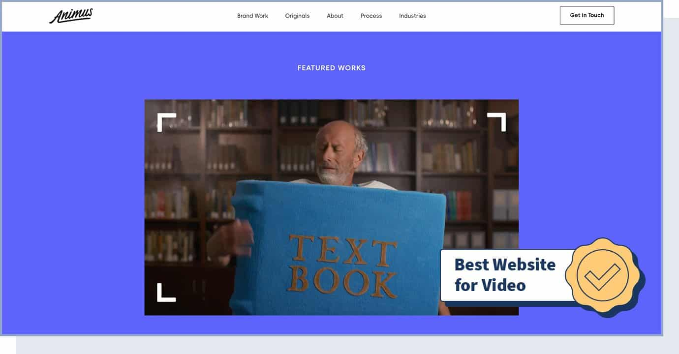 """Animus website homepage with badge that says """"best website for video"""""""