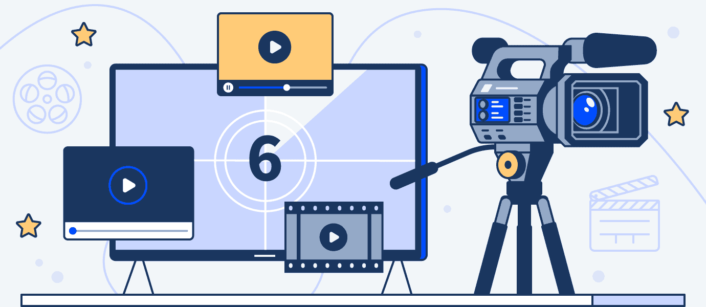 an illustration of a computer next to a video camera