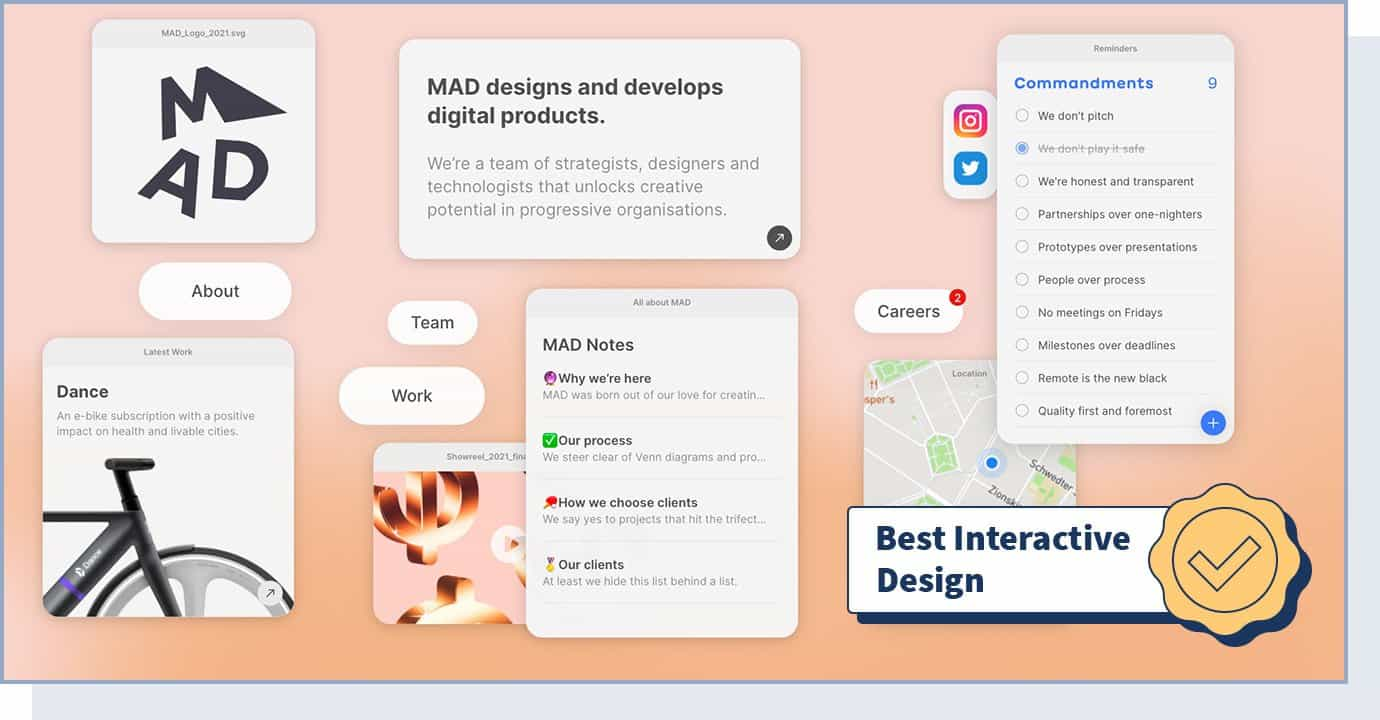 """Mad website homepage with badge that says """"best interactive design"""""""