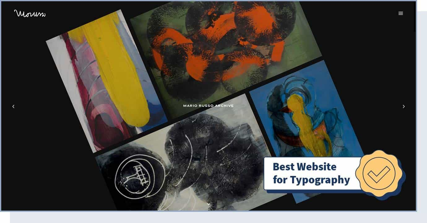 """Mario Russo Archive website with badge that says """"best website for typography"""""""