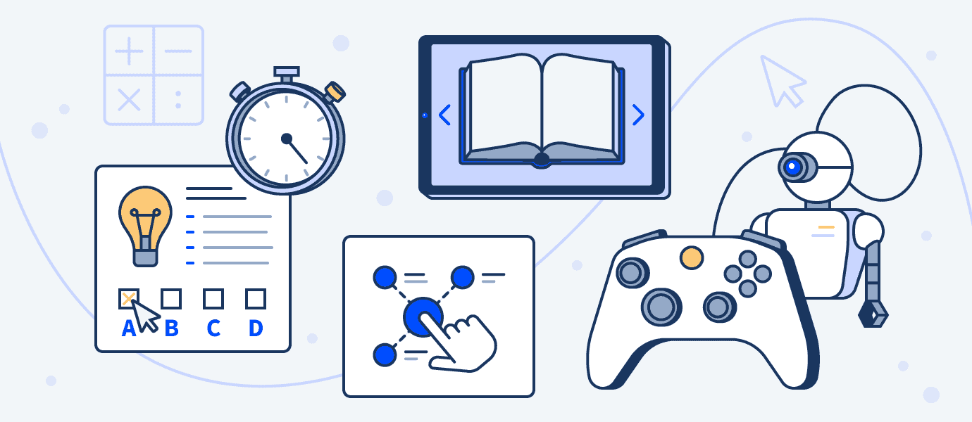 an illustration of a gaming controller and other types of content