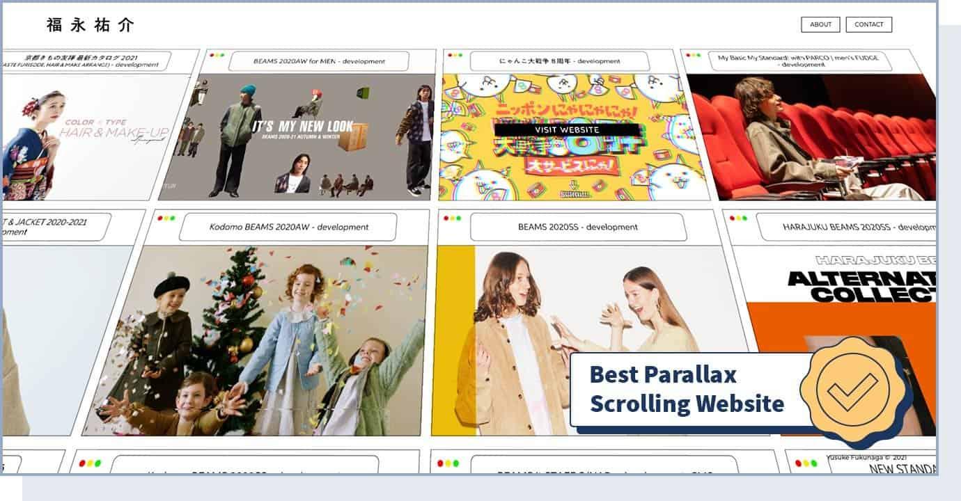 "Yusuke Fukunaga website homepage with badge that says ""best parallax scrolling website"""