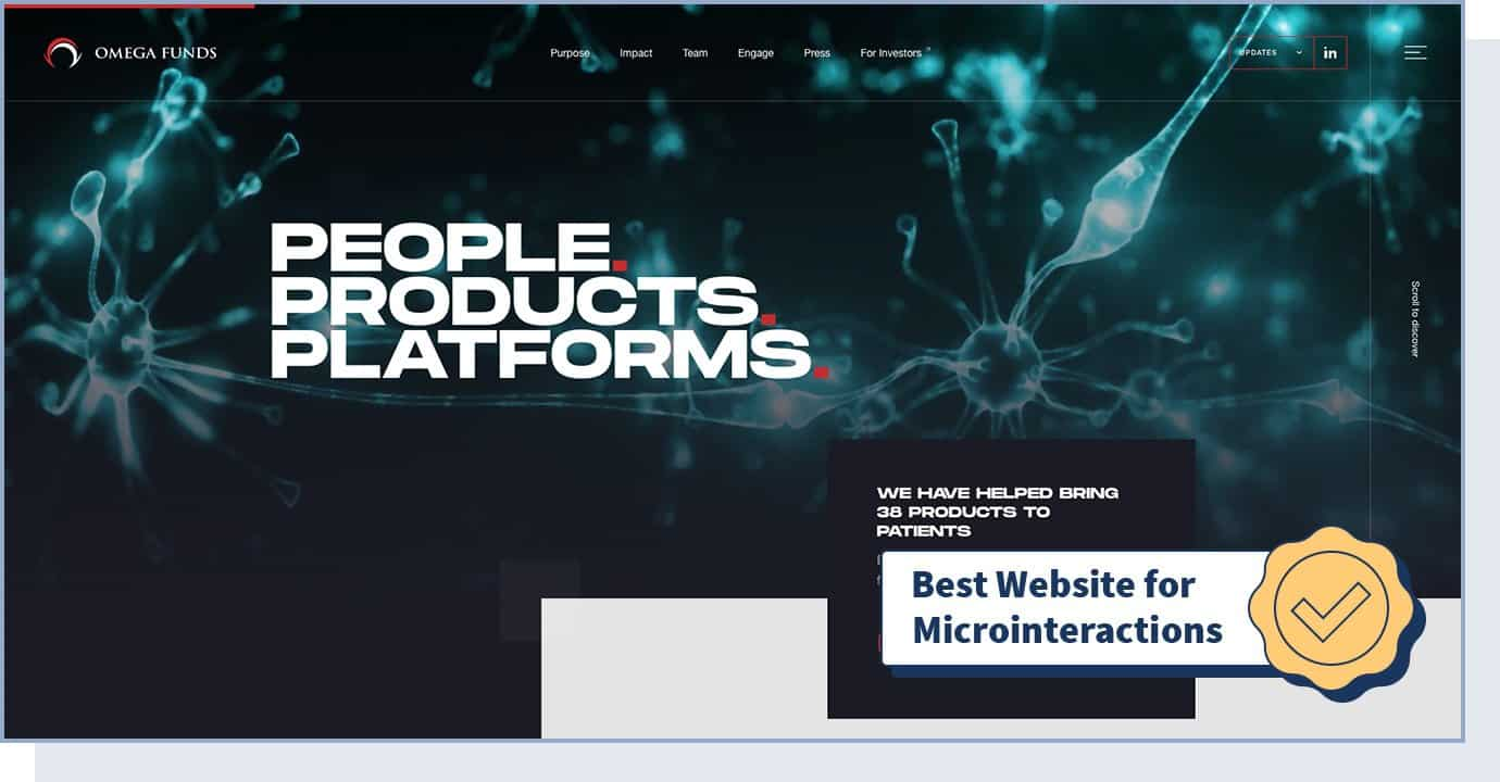 """Omega Funds website homepage with badge that says """"best website for microinteractions"""""""