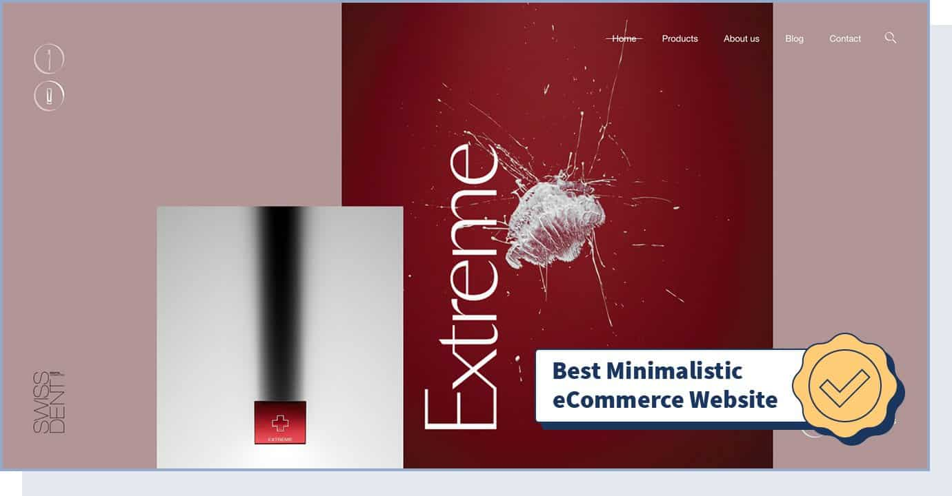 """Swissdent website homepage with badge that says """"best minimalistic eCommerce website"""""""