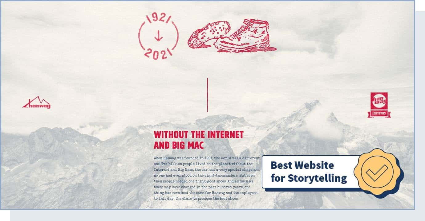 """Hanwag – 100 Years website with badge that says """"best website for storytelling"""""""