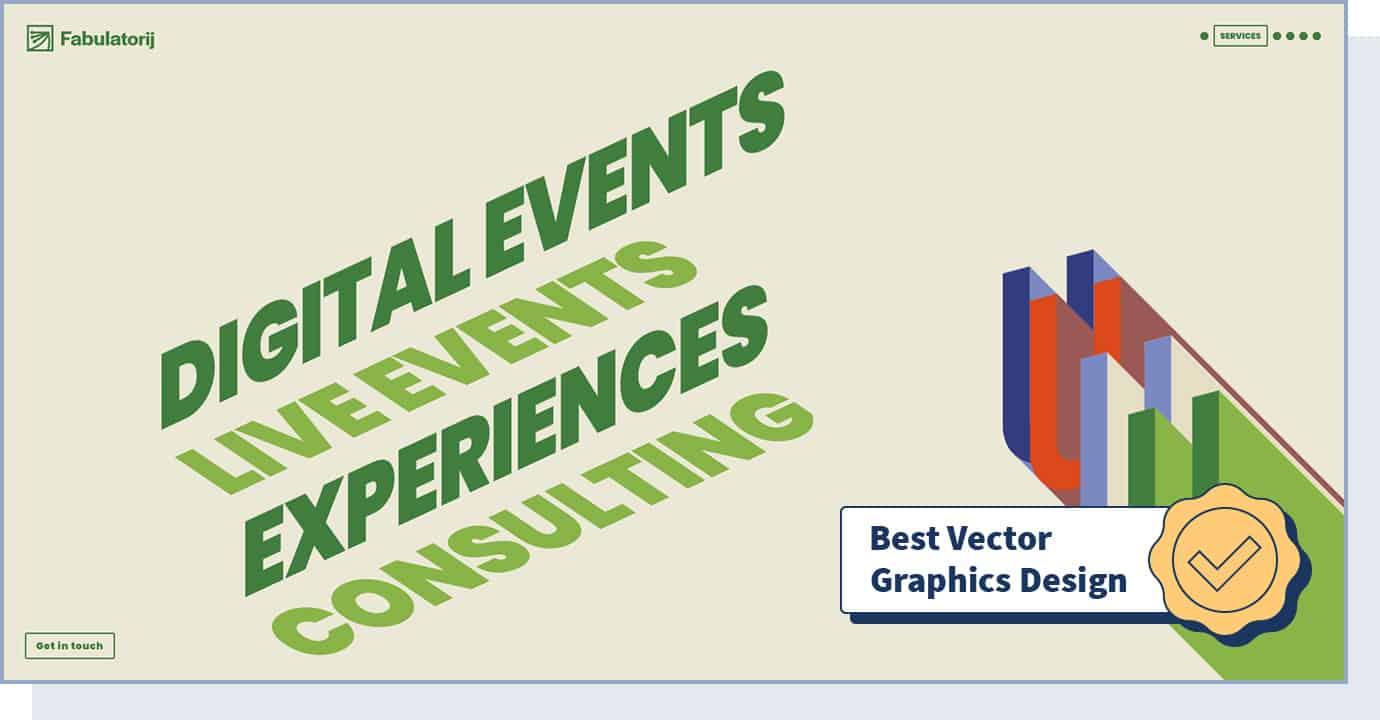 """Fabulatorij website with badge that says """"best vector graphics design"""""""