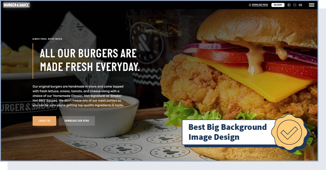 "BURGER & SAUCE website with badge that says ""best big background image design"""