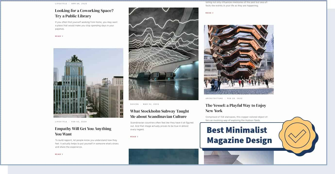 """Westbound Mag – Stories And Places website with badge that says """"best minimalist magazine design"""""""