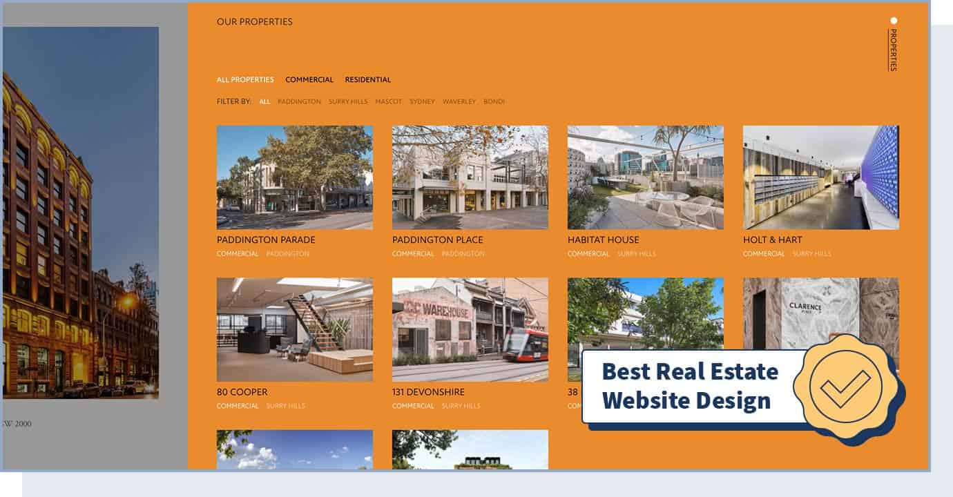 "April Group website with badge that says ""best real estate website design"""