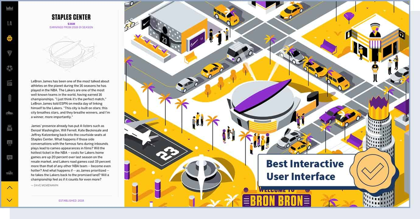 """LeBron James' Los Angeles website with badge that says """"best interactive user interface"""""""