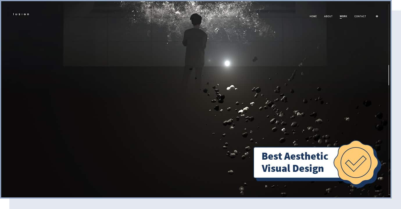 """Lusion website with badge that says """"best aesthetic visual design"""""""