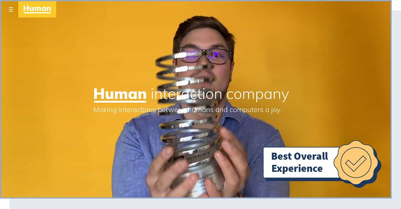 """Human Interaction Company website with badge that says """"best overall experience"""""""