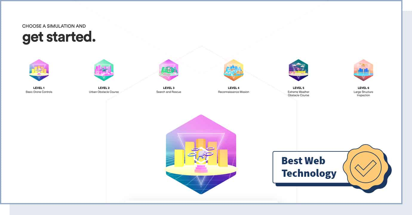 """Drone VR website with badge that says """"best web technology"""""""