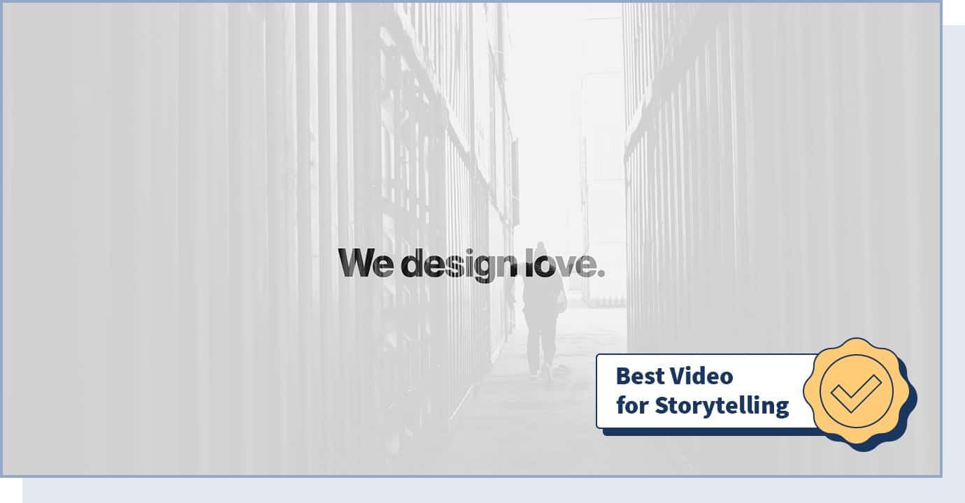 """Buero112 website with badge that says """"best video for storytelling"""""""