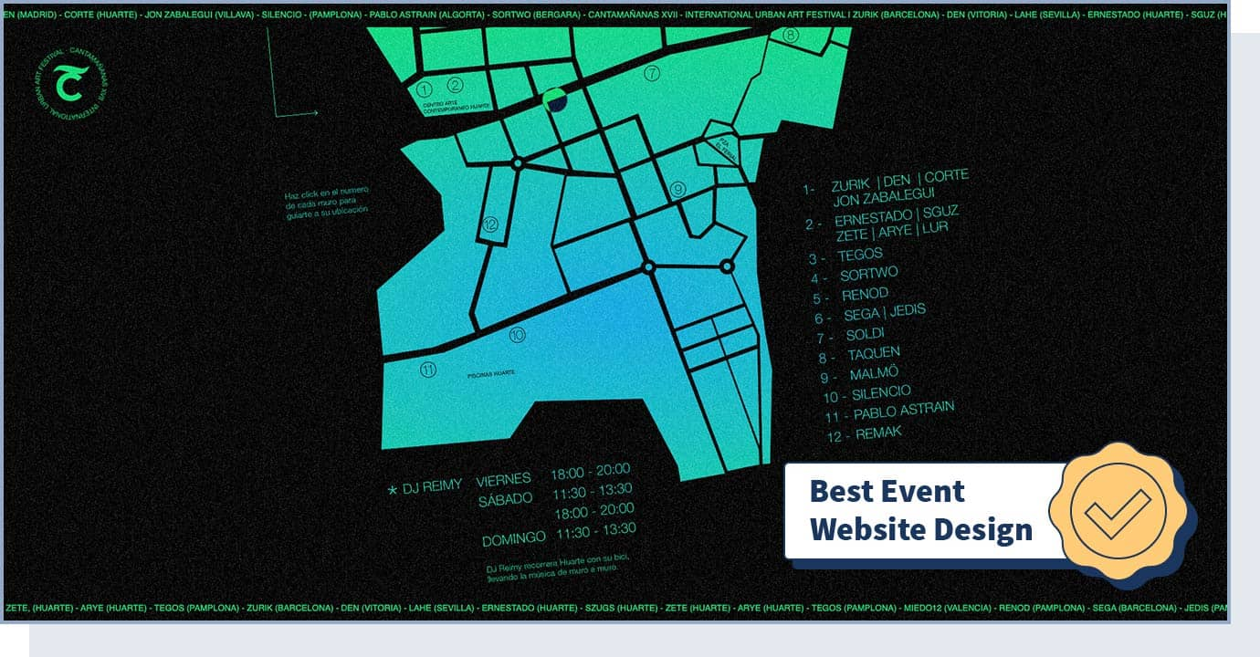 "Cantamañanas International Urban Art Festival website with badge that says ""best event website design"""