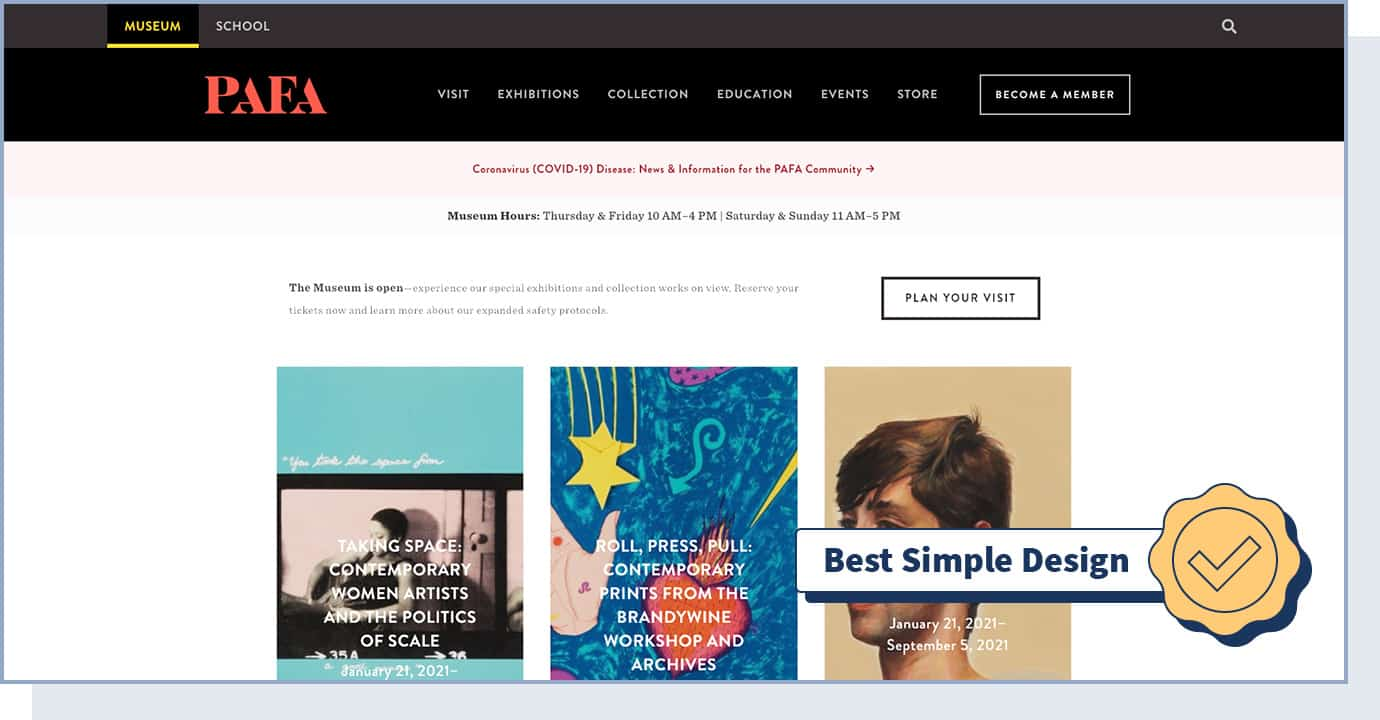 """Pennsylvania Academy of Fine Arts website with badge that says """"best simple design"""""""
