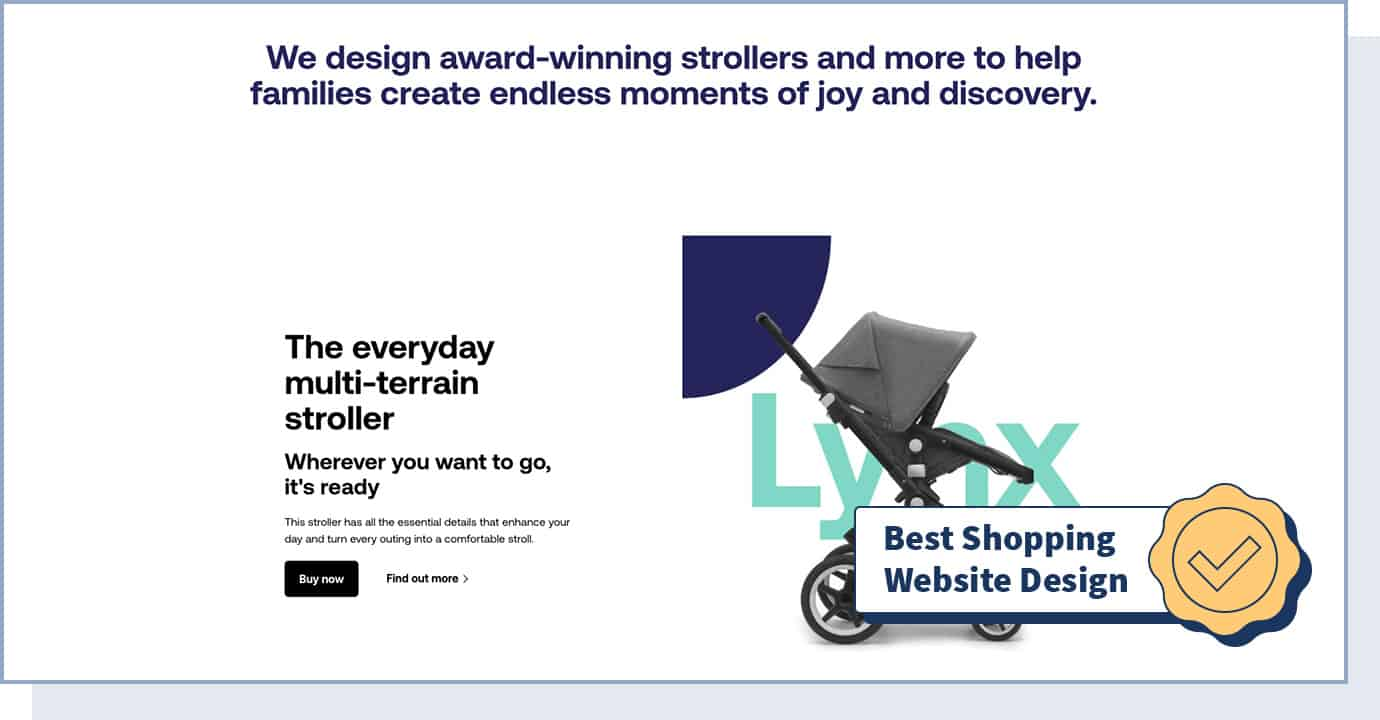 """Bugaboo website with badge that says """"best shopping website design"""""""