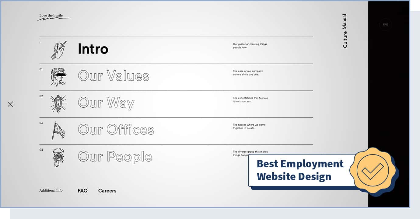 """BASIC® Culture Manual website with badge that says """"best employment website design"""""""