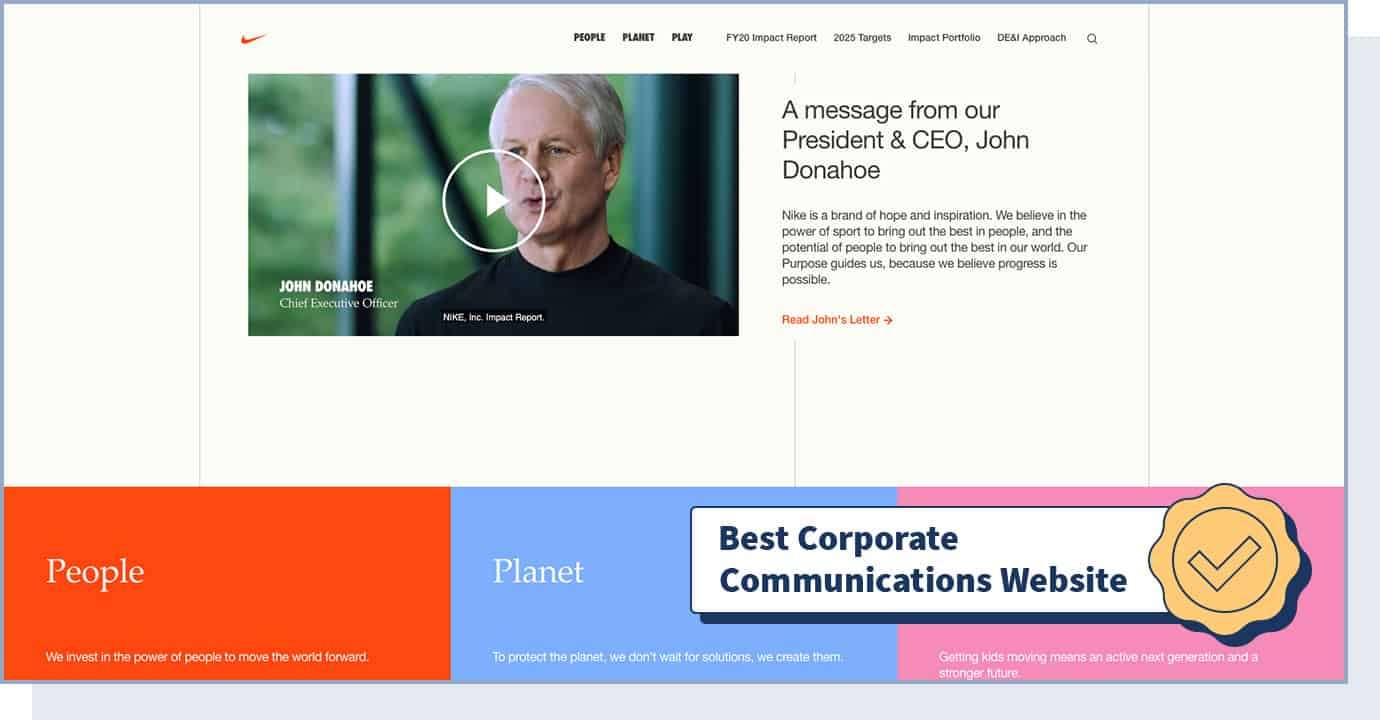 """Nike Purpose Website with badge that says """"best corporate communications website"""""""