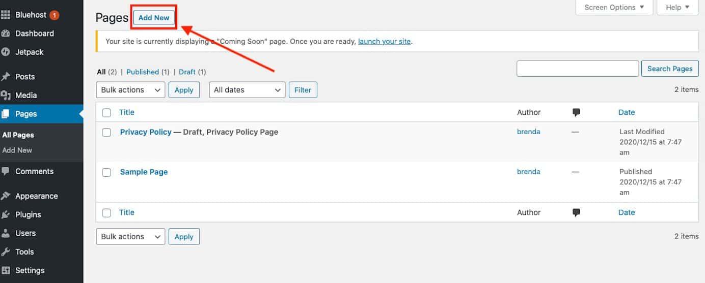 Add New Page WordPress