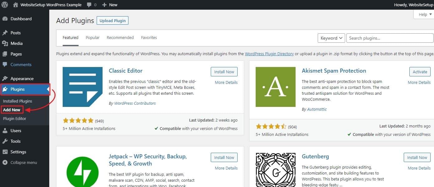 Adding Plugins WordPress